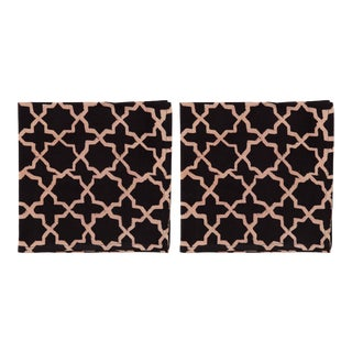 Countryside Lattice Napkins, Black - A Pair For Sale