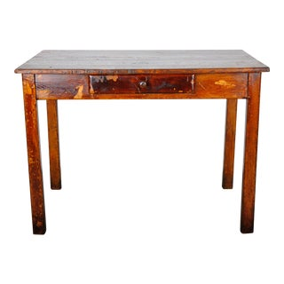 1960s French Farmhouse Style Rustic Oak Writing Desk W/ One Drawer For Sale