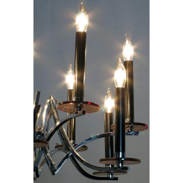 1970s Chrome & Smoked Lucite Twelve-Arm Chandelier For Sale - Image 5 of 6
