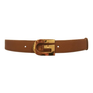 Classic Vintage Gucci Camel Leather Belt For Sale