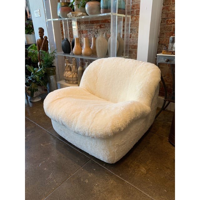 1970's Reupholstered Curly Shearling Swivel Chair - 2 Available For Sale - Image 11 of 11