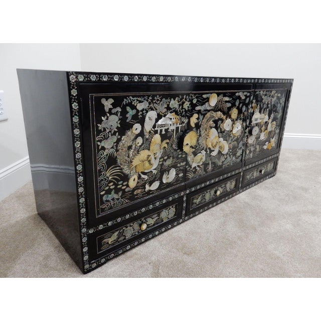 Chinese Mother of Pearl Inlaid Lacquered Cabinet For Sale - Image 10 of 11