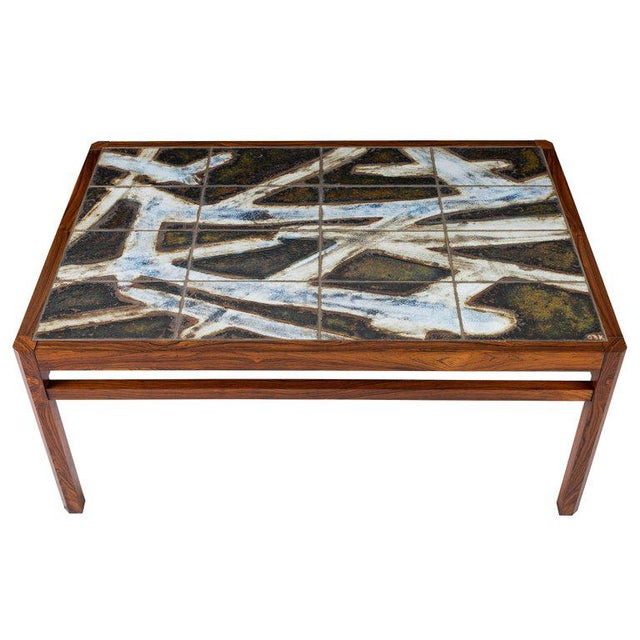 Danish Abstract Tile Coffee Table - Image 5 of 10