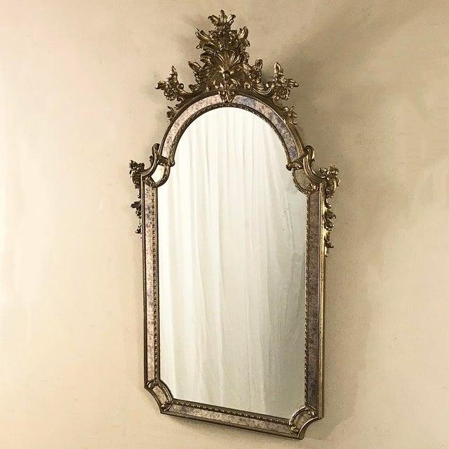 Baroque Mid-Century Italian Venetian Gilded Mirror For Sale - Image 3 of 13