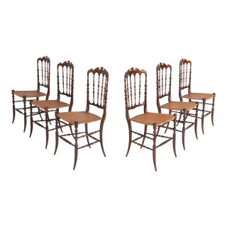 Chiavari Cherrywood & Wicker Dining Chairs After Giuseppe Gaetano Descales For Sale