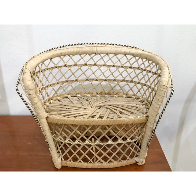 Wood Vintage Rattan Loveseat Plant or Teddy Stand For Sale - Image 7 of 7