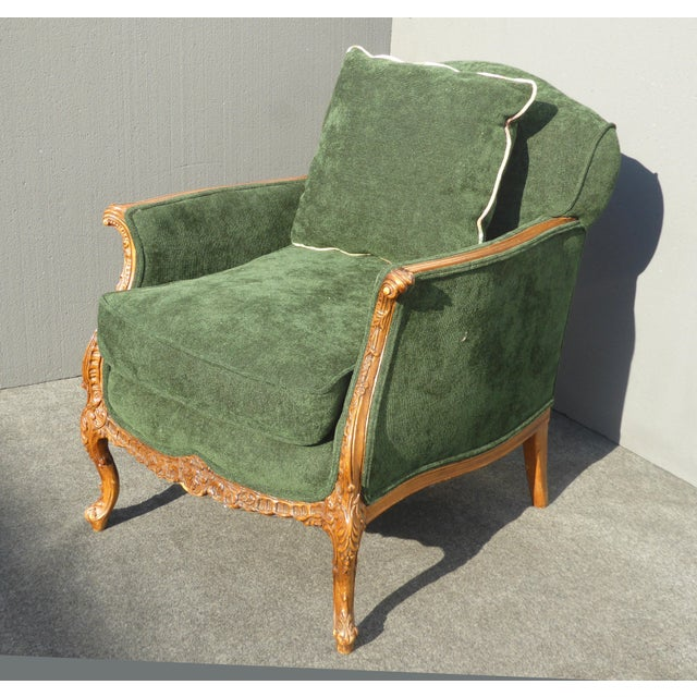 Vintage French Louis XV Style Forest Green Velvet Arm Chair For Sale - Image 4 of 11