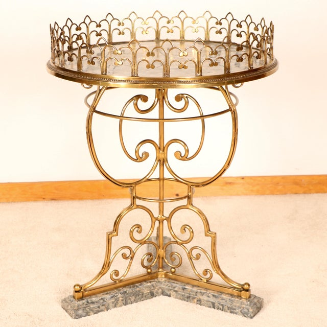 La Barge Brass & Marble Center Table For Sale - Image 4 of 11