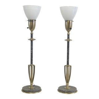 Rembrandt Mid-Century Brass Torchiere Table Lamps - a Pair For Sale