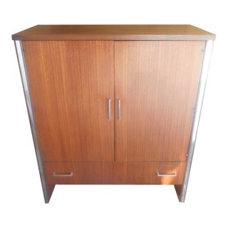 Mid-Century Modern Walnut & Chrome Armoire Wardrobe