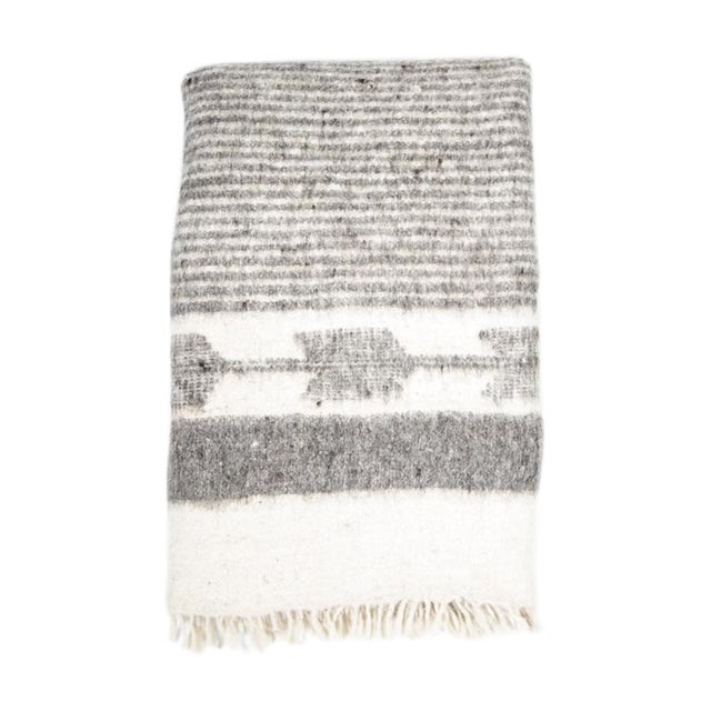 Grey & White Wool Blanket - Image 1 of 6