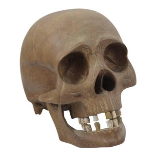 Vintage Hand-Carved Wooden Skull For Sale