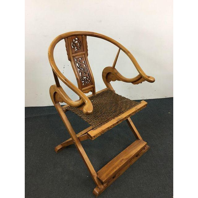 Qing Dynasty Jiaoyi Horseshoe Back Folding Armchair For Sale - Image 4 of 11