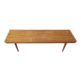 Mid-Century Modern Walnut Slat Slot Coffee Table Bench