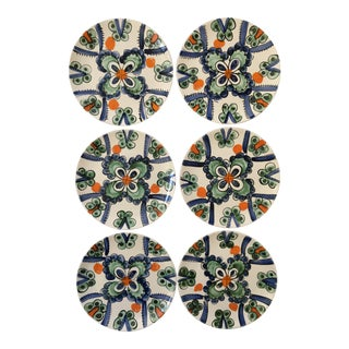 Hand Painted Colorful Portuguese Plates - Set of 6 For Sale