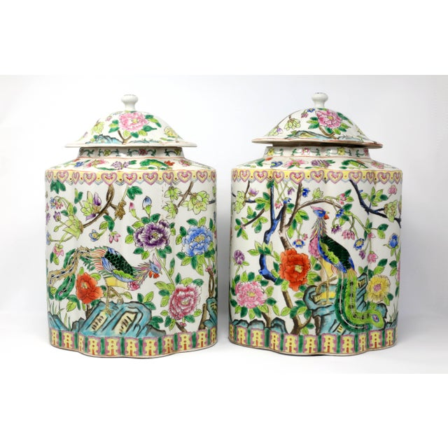 Vintage Hand-Painted Scalloped Ginger Jars With Peacocks and Flowers - a Pair For Sale - Image 4 of 11