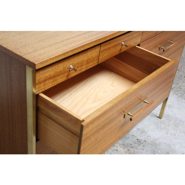 Gold Paul McCobb Mahogany and Brass 6000 Series Directional Cabinet For Sale - Image 8 of 13