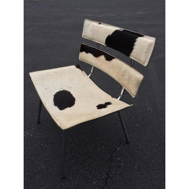 Cowhide & Chrome Eames Style Chair For Sale - Image 9 of 12