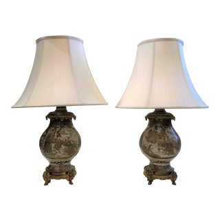 Pair Antique Japanese Satsuma 19th Century Oil Lamps with Fine Ormolu Mounts.