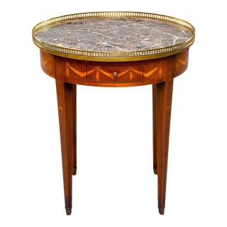 Marble Top French Oak Gueridon With Marquetry and Brass Gallery For Sale
