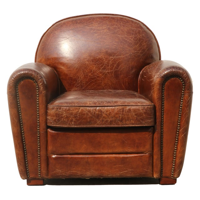 Pasargad Genuine Leather Paris Club Chair - Image 1 of 5