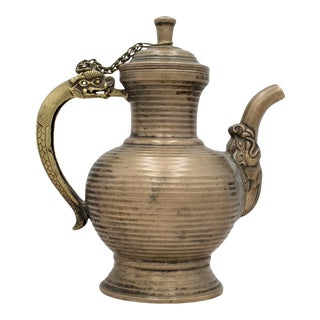 Early Antique Two-Tone Metal Dragon Teapot For Sale