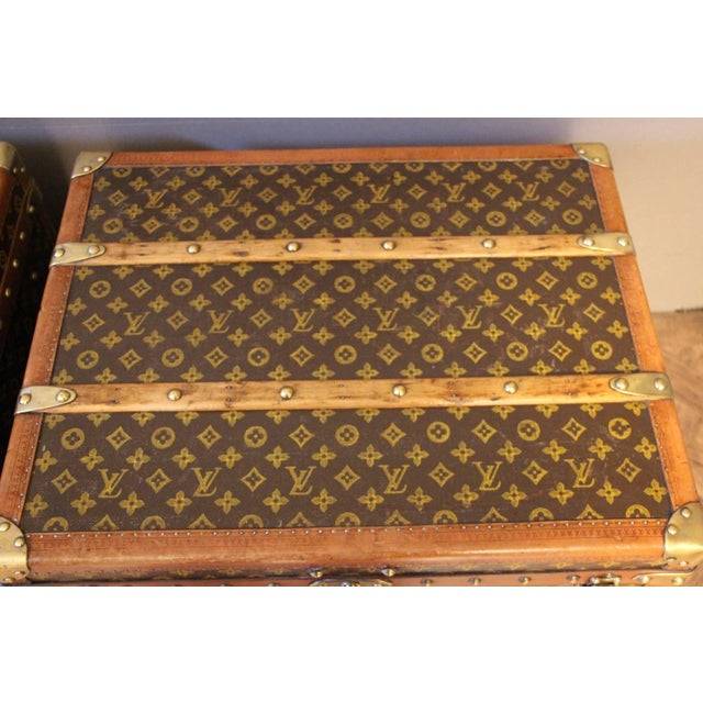Brown Pair of Louis Vuitton Monogram Steamer Trunks, Malles Louis Vuitton For Sale - Image 8 of 13