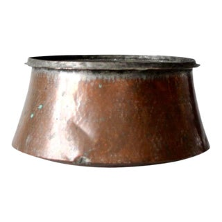 Antique Hammered Copper Cauldron For Sale