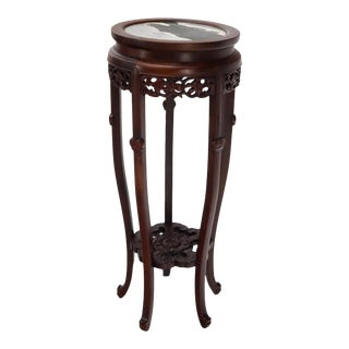 Chinese Carved Dark Rosewood Marble Top Round Stand For Sale
