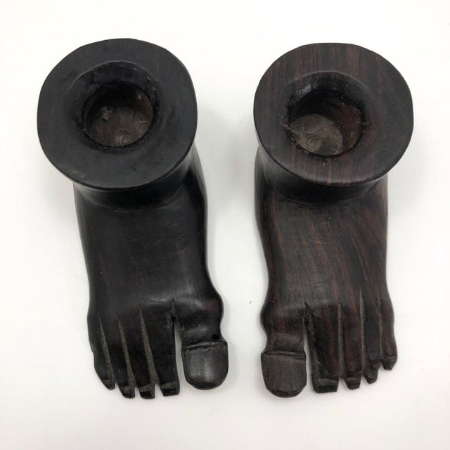 1960s Vintage Hand-Carved Ebony Foot-Shaped Candleholders - a Pair For Sale - Image 5 of 12