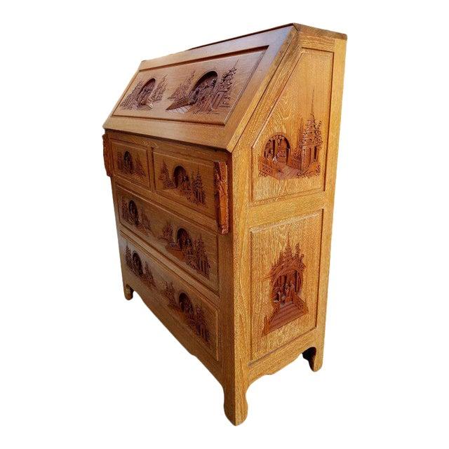 Drop Front Desk >> Hand Carved Asian Drop Front Desk