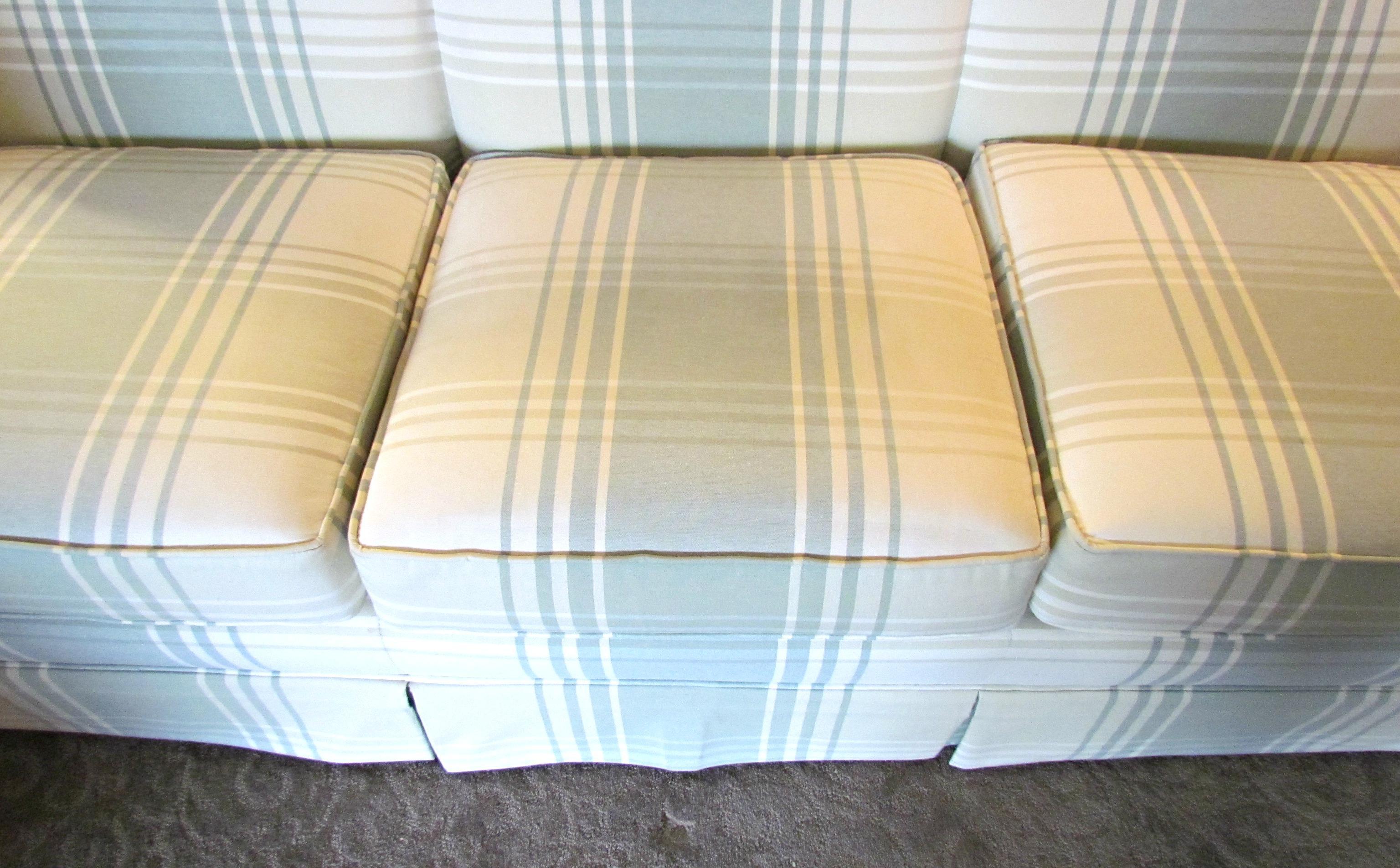 Plaid Sofa clayton plaid sofa with slipcover chairish
