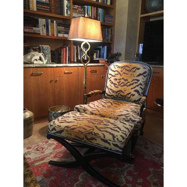 Louis XV Drexel-Heritage Tiger-Striped Chair and Ottoman - Set of 2 For Sale In Palm Springs - Image 6 of 6