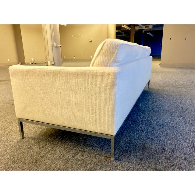 Mid-Century Modern Florence Knoll Cream Colored Wool and Chrome Three Seat Sofa - Image 4 of 7
