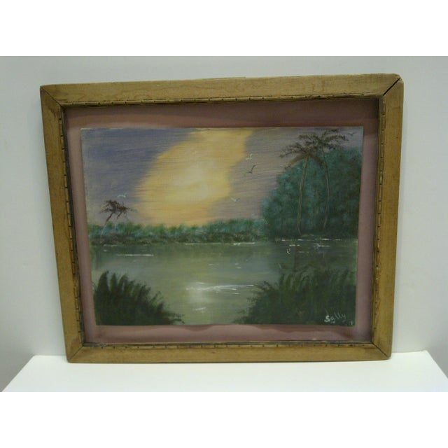 "Original Painting on Paper - ""Sunset"" by Sally, 1940 - Image 2 of 6"
