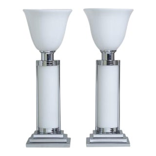 Contemporary Pair of Chrome and Glass Deco Style Uplighters For Sale