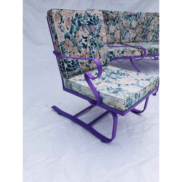 1950s Mid-Century Modern C. 1970s Fresh Violet Paint 5-Piece Outdoor Set For Sale - Image 5 of 13