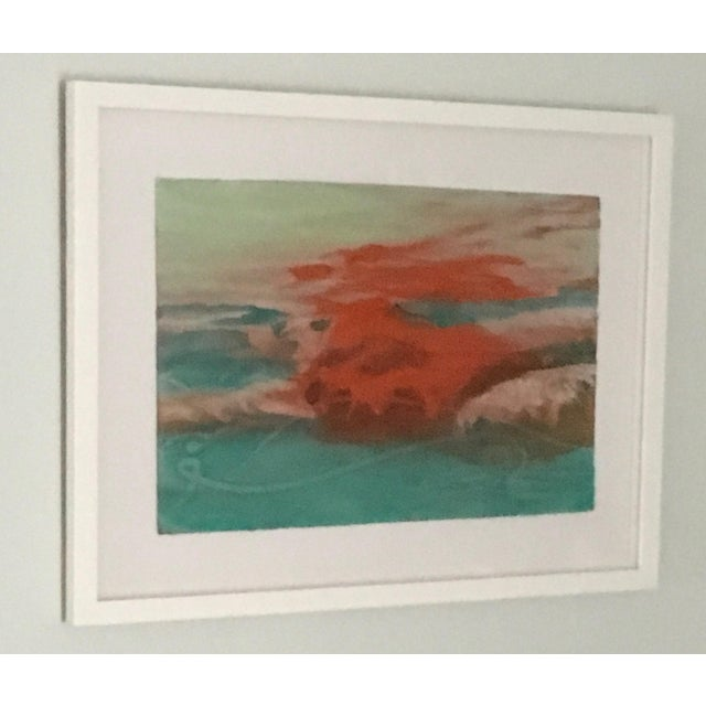 "Turquoise Carol Bennett ""Suspense Study"" Figurative Swimmer Artwork on Paper, 2017 For Sale - Image 8 of 8"