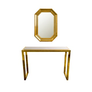 1980's Italian Gold Framed Console and Mirror Set - 2 Pc. For Sale