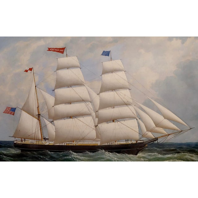 19th Century Portrait of an American Sailing Ship- Oil Painting -C1860s For Sale - Image 4 of 12