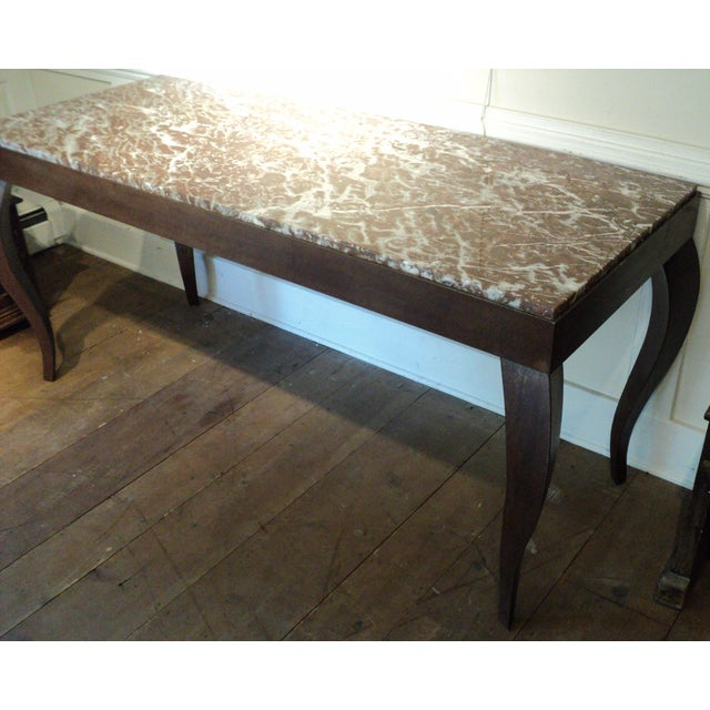 Custom Designed Metal & Marble Console Hall Table - Image 4 of 11
