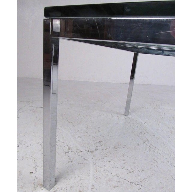 Pair of Mid-Century Modern Chrome and Glass Coffee Tables For Sale In New York - Image 6 of 11