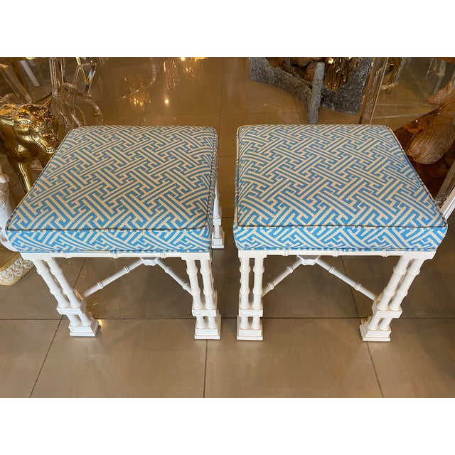 Vintage Palm Beach Faux Bamboo Blue & White Lacquered Greek Key Upholstered Benches Stools -A Pair For Sale - Image 4 of 13