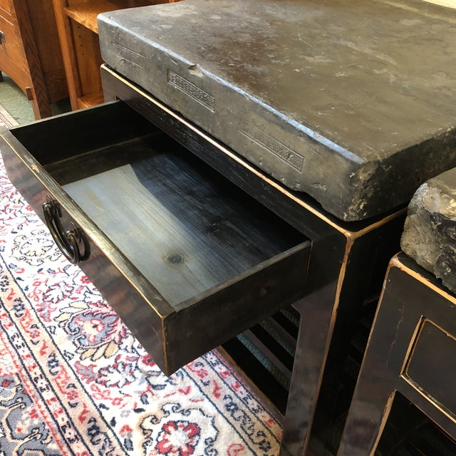Antique Chinese Stone Top Side Tables - a Pair For Sale In San Francisco - Image 6 of 13
