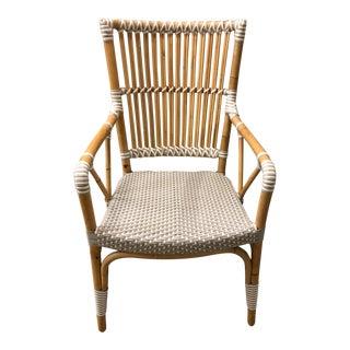 White Rattan Pole Arm Chair
