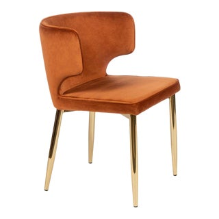 Kayla Upholstered Curved Chair in Amber For Sale