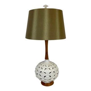 Vintage Mid-Century Modern Pierced Ceramic & Walnut Table Lamp For Sale