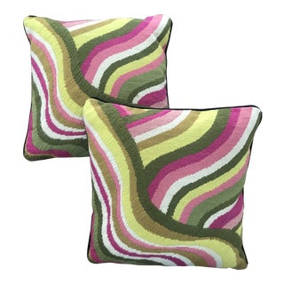 Jonathan Adler Needlepoint Wave Bargello Pillows - A Pair For Sale