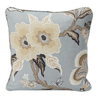 Schumacher Double-Sided Pillow in Hothouse Flowers Linen Print For Sale