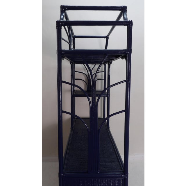 Navy Lacquer Finish Woven Rattan Etagere For Sale - Image 4 of 6